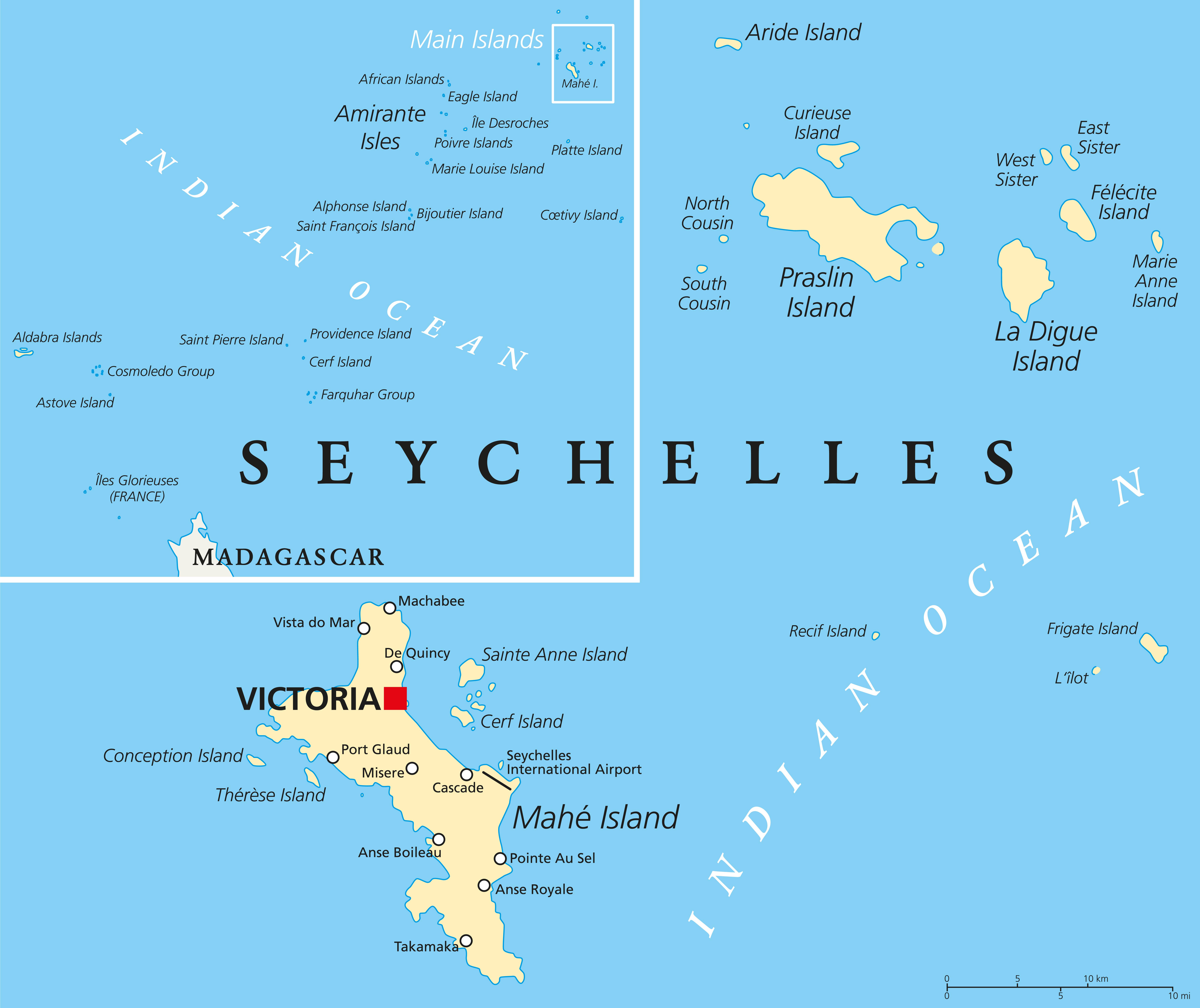 seychellene kart Seychelles Political Map   Carpe Diem seychellene kart