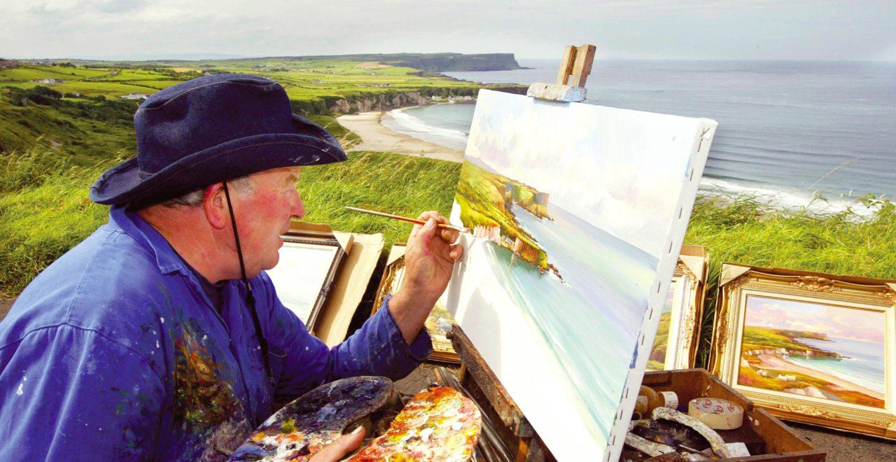 Nord-Irland, kyst, maler, Antrim