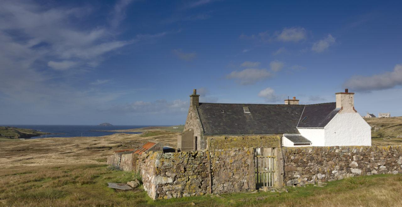 Hytte ved Eshaness Shetland Skottland