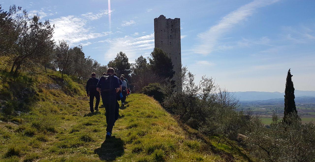 Italia, Umbria, Trevi, vandring, castello pisignao