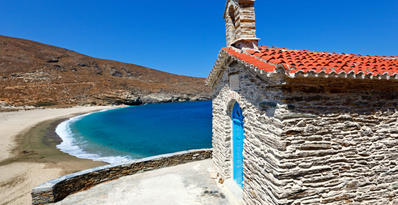 Kirke, Achla, strand, Andros, Kykladene, Hellas