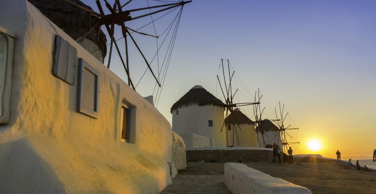 Mykonos Kykladene Hellas vindmøller
