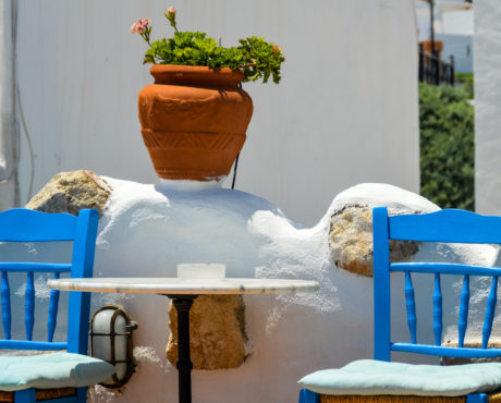 Mykonos Kykladene Hellas stol blå