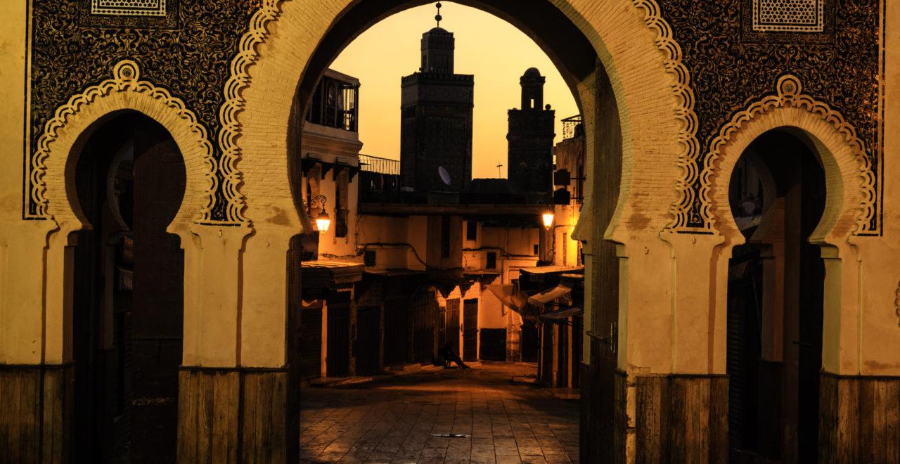 The Bab Bou Jeloud gate, medina, Fes, Marokko