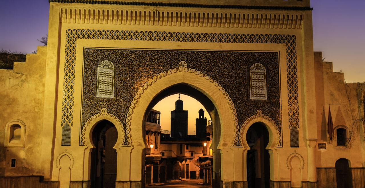 The Bab Bou Jeloud gate, medina Fez, Marokko