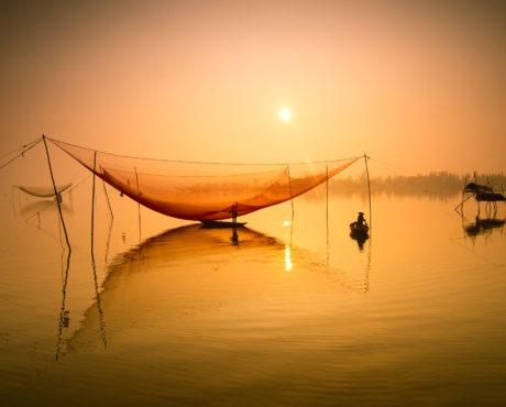 Hoi An, Vietnam, fisker, fiskenett