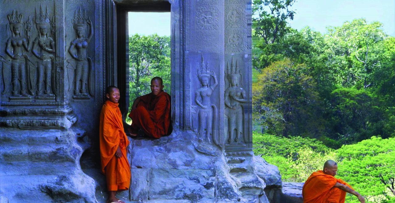 Angkor Wat, Kambodsja, Siem Reap, munker