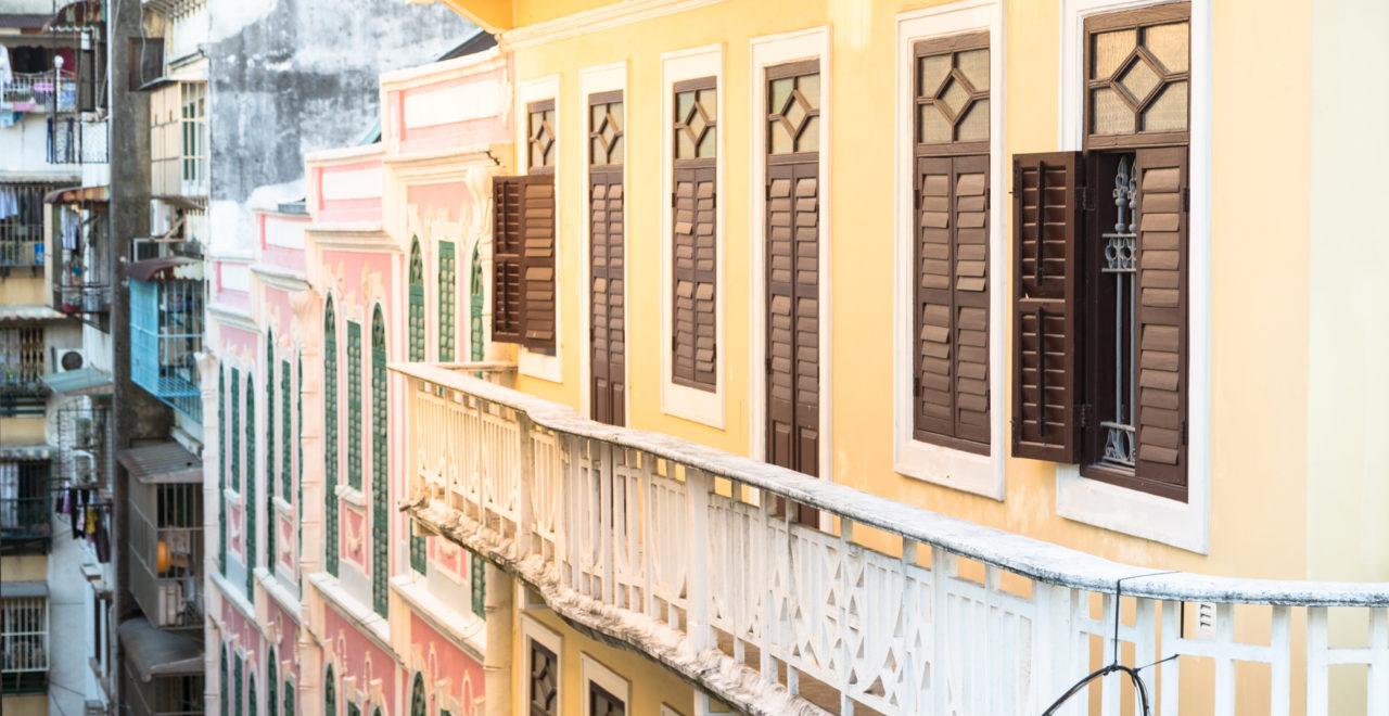 The facades of Macau, Macao, Kina
