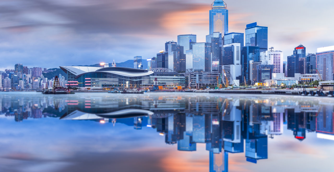 Beautiful Sunrise over Victoria Harbor, Kina, Hong Kong
