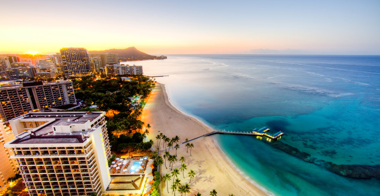 Sunrise at Waikiki Beach, USA, Hawaii, Oahu