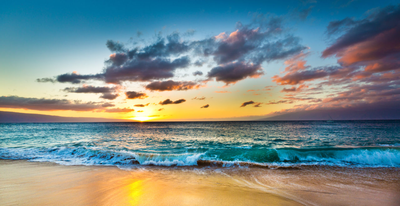Kaanapali Beach on West Shore of Maui Hawaii at Sunset, USA