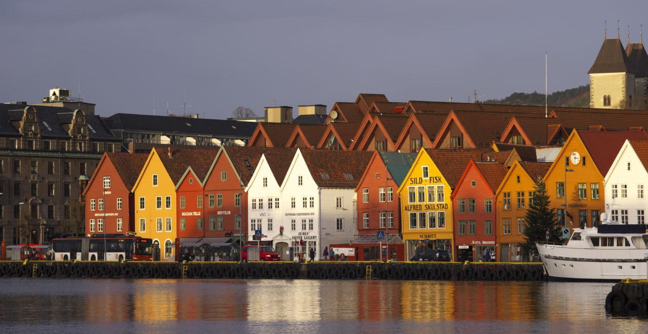 Bergen, vinter, Norge, desember
