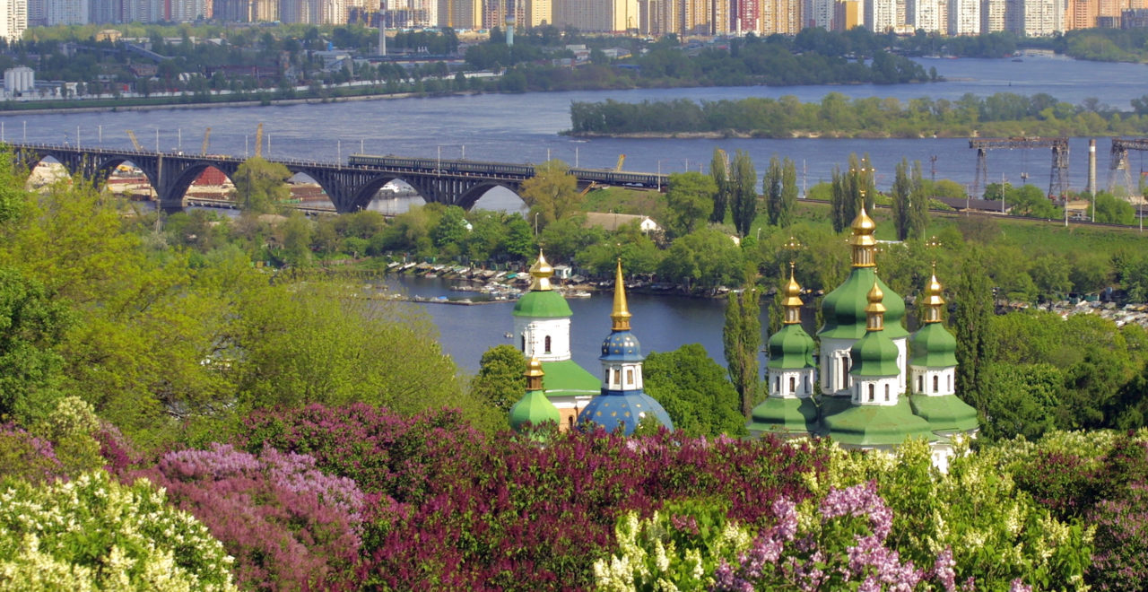 Ukraina, Kiev, Botanisk hage, elv, Dnjepr