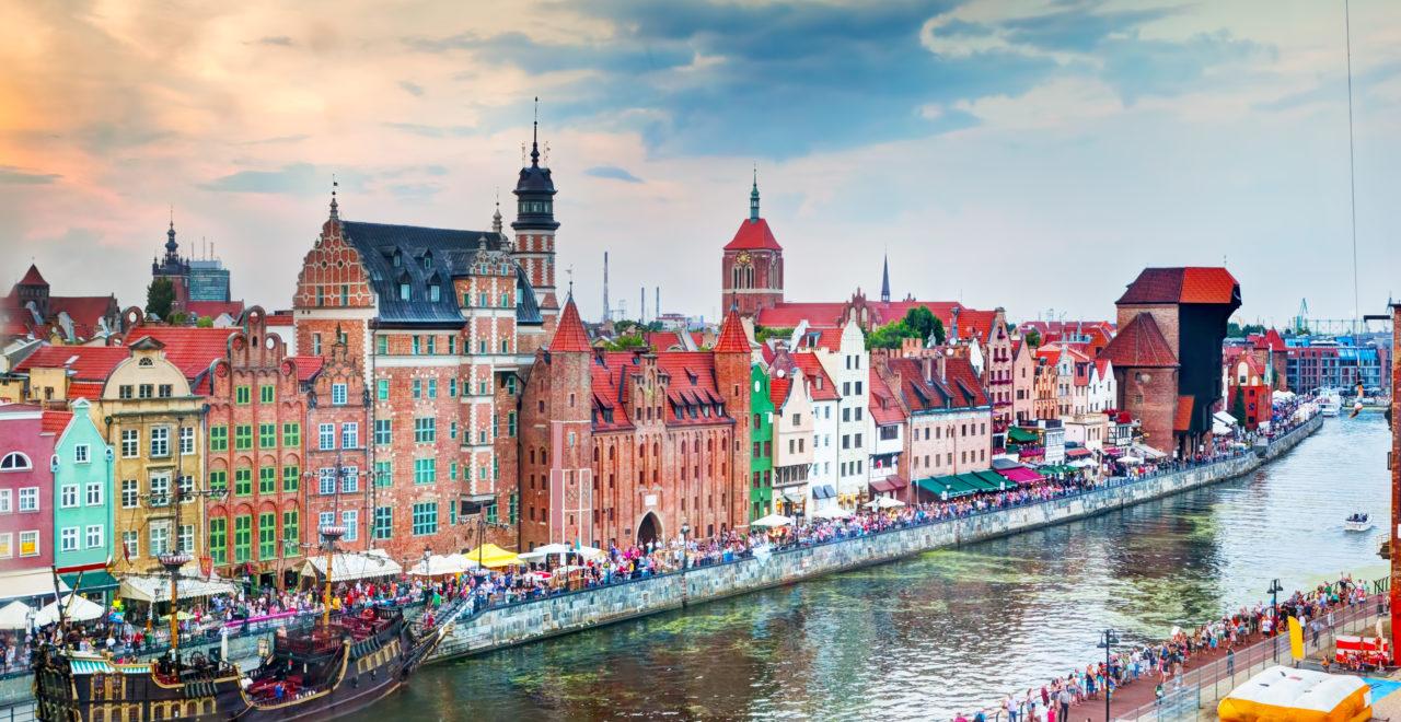 Polen, Gdansk, gamlebyen, Motlawa-elven