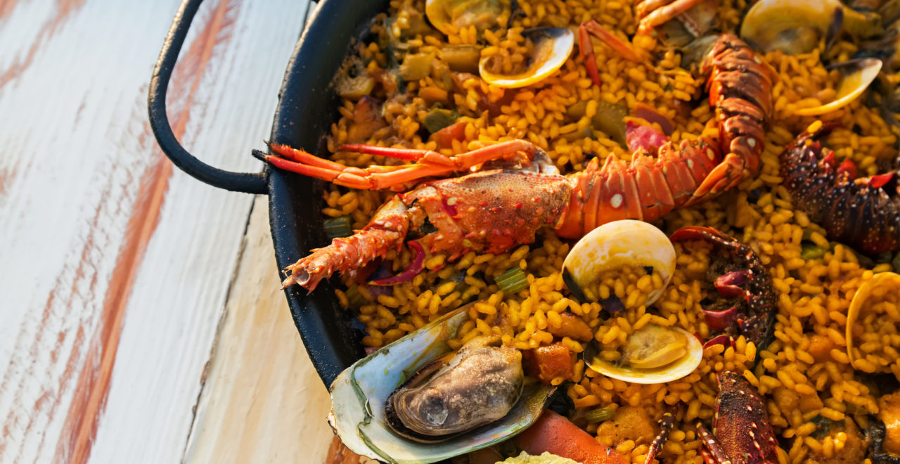 Seafood paella spania mat