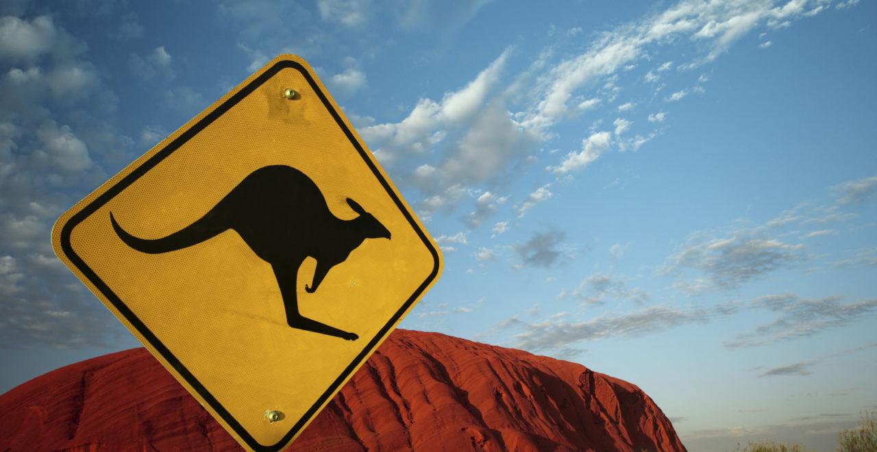 Australia, Ayers Rock, Uluru, skilt, kenguru
