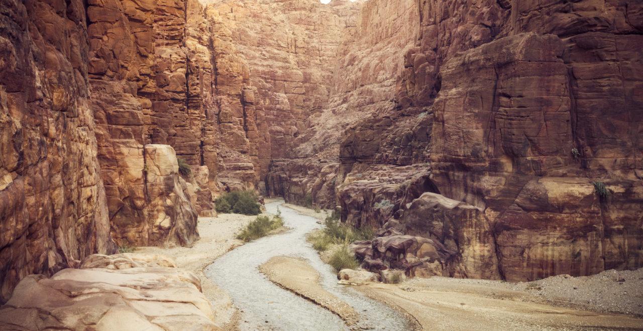 Entrance to Wadi Mujib canyon