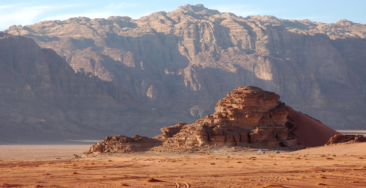 Wadi Rum desert with mountains in the background